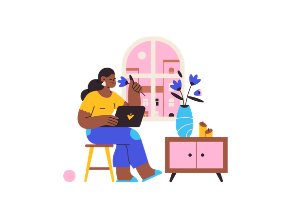 Girl working from home Illustration