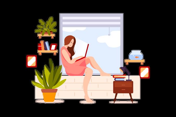 Girl working in laptop Illustration
