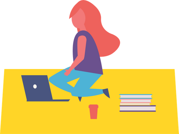 Girl working in park Illustration