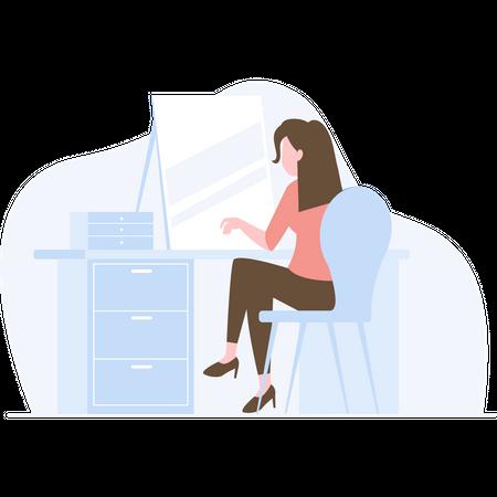 Girl working on laptop while sitting on office desk Illustration