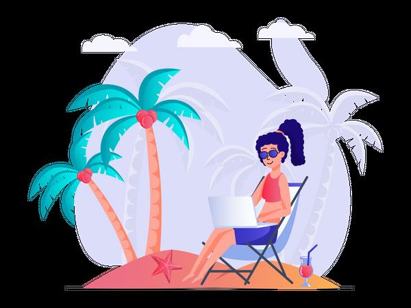 Girl working on vacation Illustration
