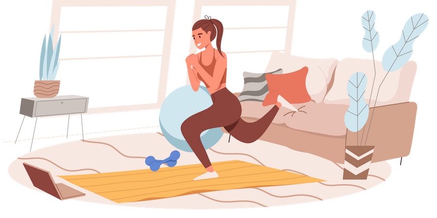 Girl Working Out At Home Illustration