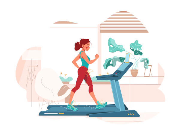 Girl works out on treadmill Illustration