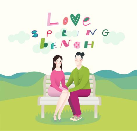 Girlfriend and boyfriend sitting on bench Illustration