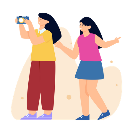 Girls Capturing Photos Illustration