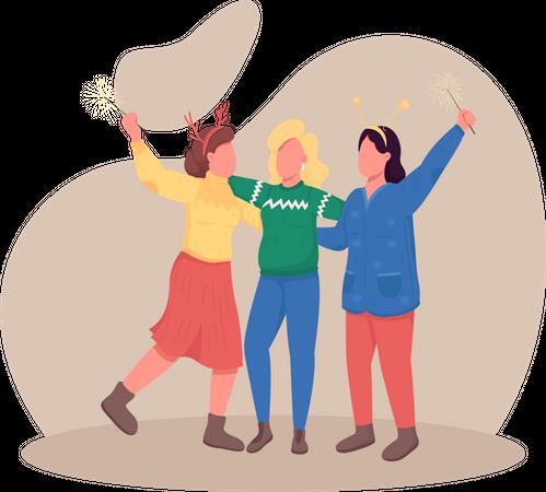 Girls celebrating Christmas Illustration