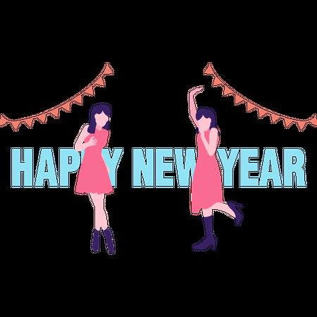 Girls celebrating new year party Illustration