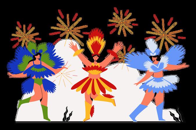 Girls dancing on Carnival festival Illustration