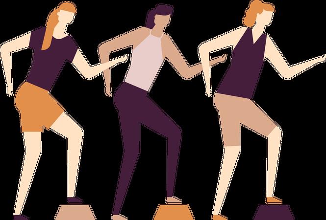 Girls doing exercise Illustration