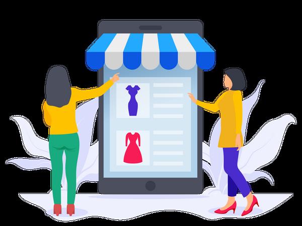 Girls doing online shopping Illustration