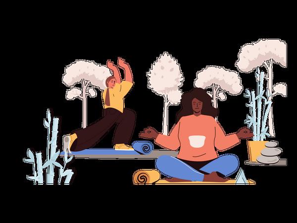 Girls doing yoga Illustration