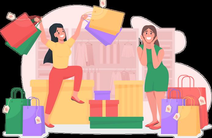 Girls enjoying shopping Illustration