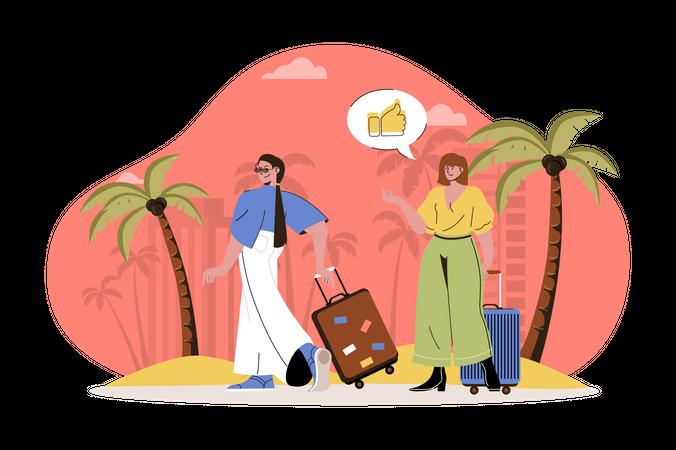 Girls enjoying summer vacation Illustration