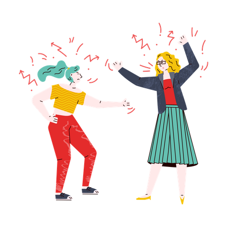 Girls fighting with each other Illustration