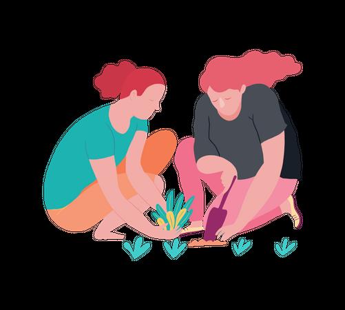 Girls gardening Illustration