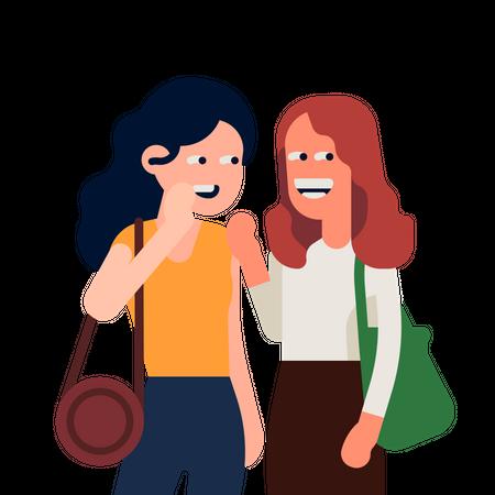 Girls gossiping Illustration