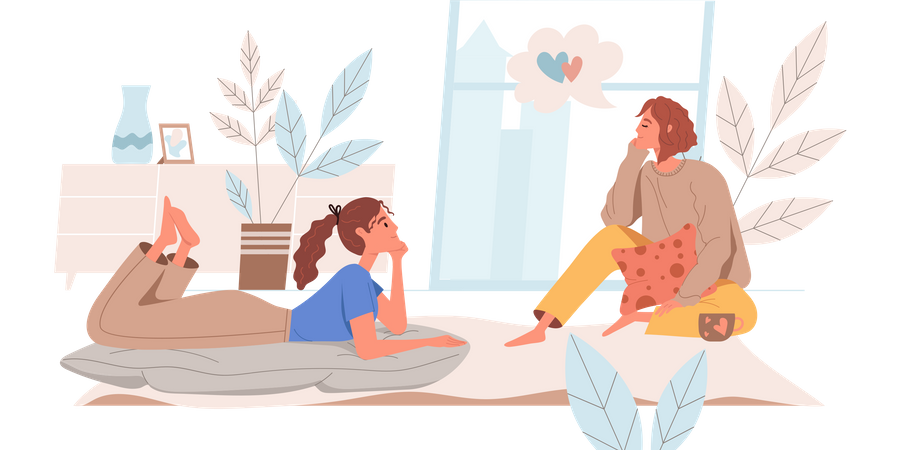 Girls Gossiping At Cozy Place Illustration