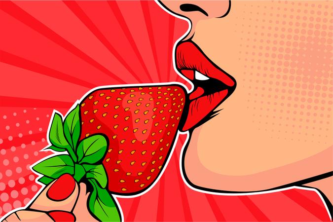 Girls lips with strawberry Illustration