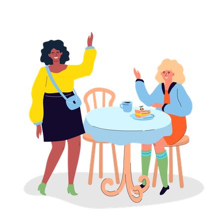 Girls meeting in the cafe Illustration