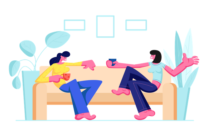 Girls Sitting on Couch Illustration