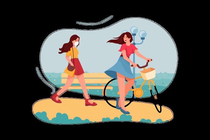 Girls spending time in park Illustration