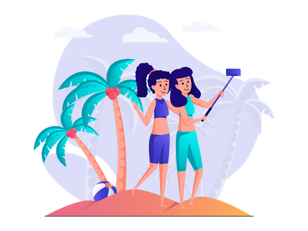 Girls taking selfie at beach Illustration