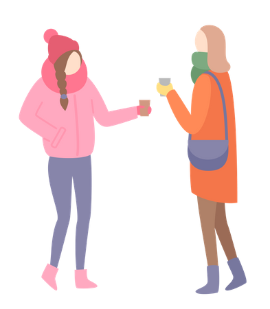 Girls talking with each other Illustration