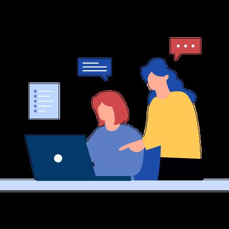 Girls working on business startup Illustration