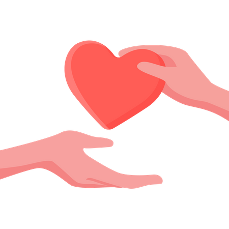 Give and take care and help concept with heart and hand Illustration