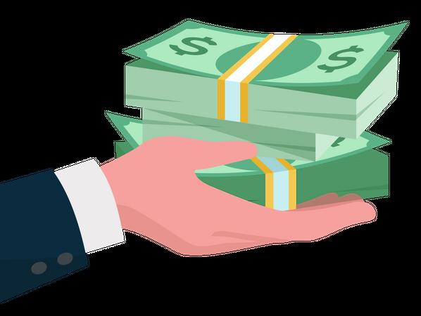 Give money bundles Illustration