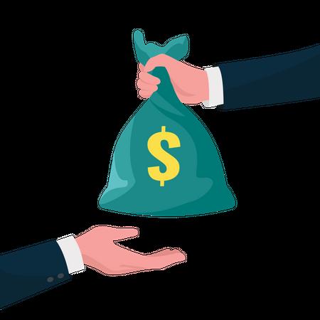 Give money sack Illustration