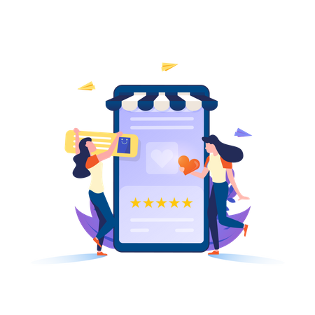Give Review Using Mobile Application Illustration
