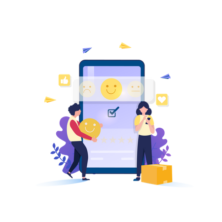 Give Satisfied Review Illustration