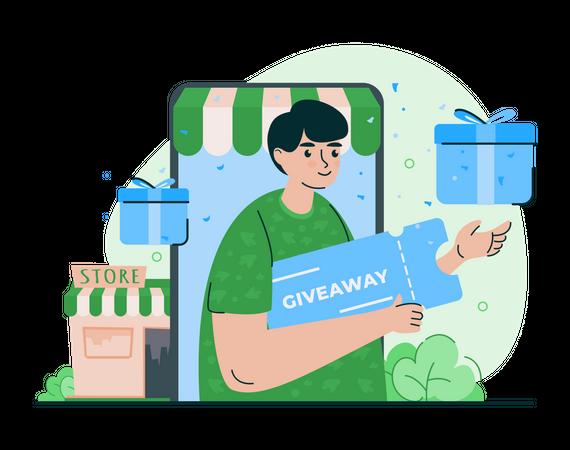 Giveaway time promotion Illustration