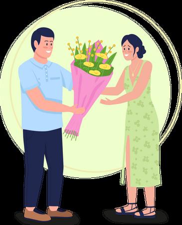 Giving flowers Illustration