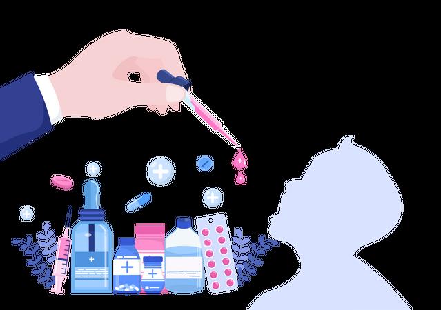 Giving polio medicine Illustration