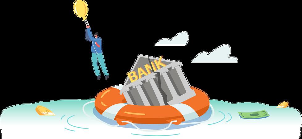 Global bank crisis Illustration