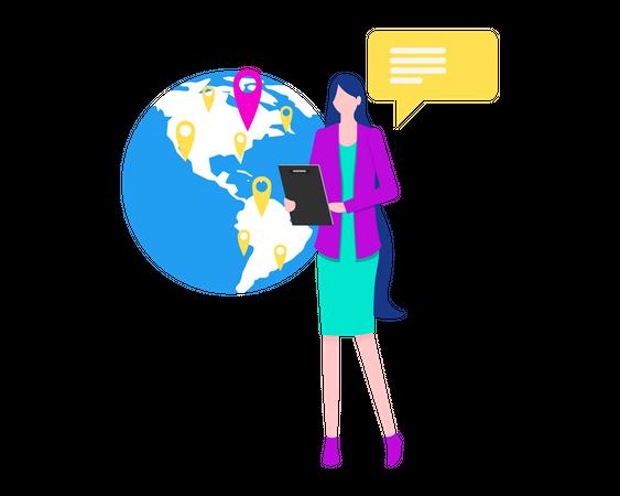 Global communication center Illustration