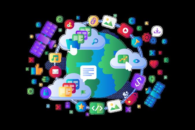 Global data social network 5G internet vector flat design. Worldwide wi-fi internet satellite navigation system moving on Earth orbit, cloud storage servers operation concept. Website app template Illustration