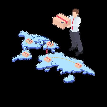 Global delivery location Illustration