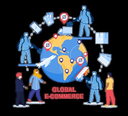 Global E-Commerce in Worldwide Covid-19 Pandemic Illustration