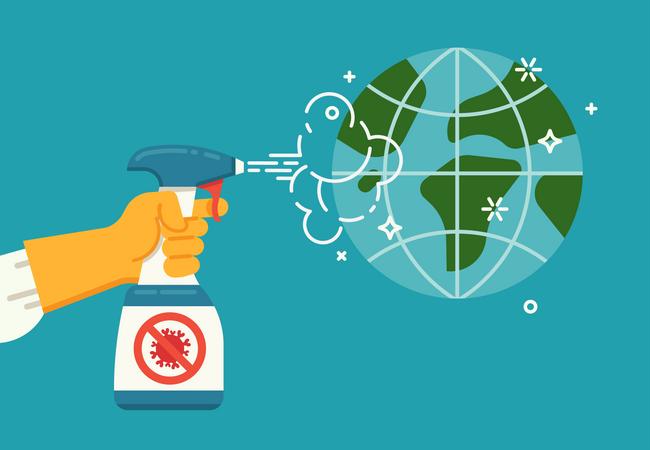 Global effort against coronavirus pandemic Illustration