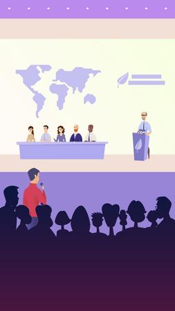 Global leaders doing press conference Illustration
