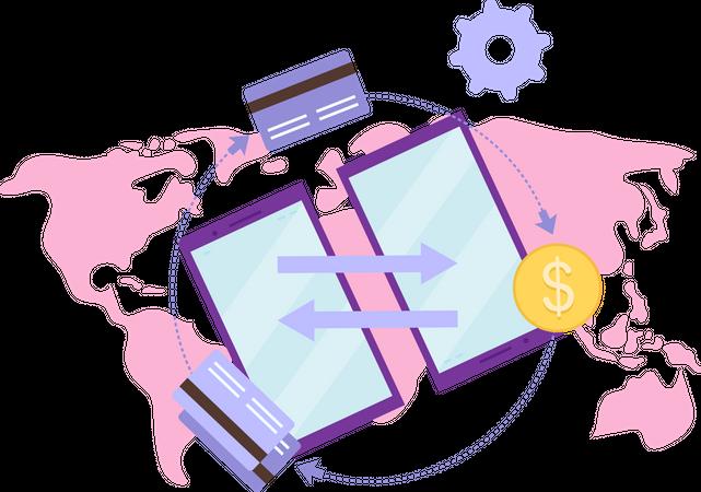 Global payment system Illustration