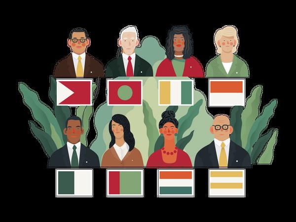 Global Political Meeting Illustration