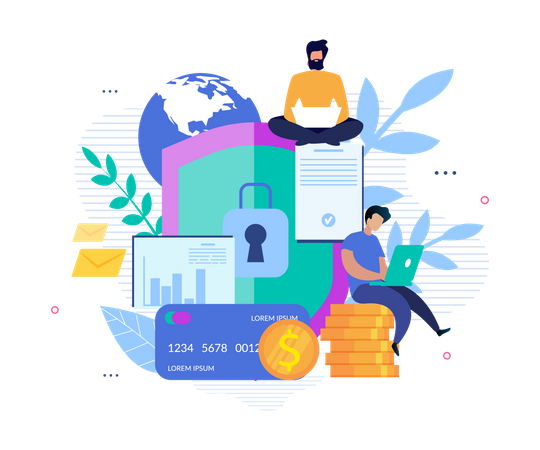 Global Security for Account and Online Banking Illustration