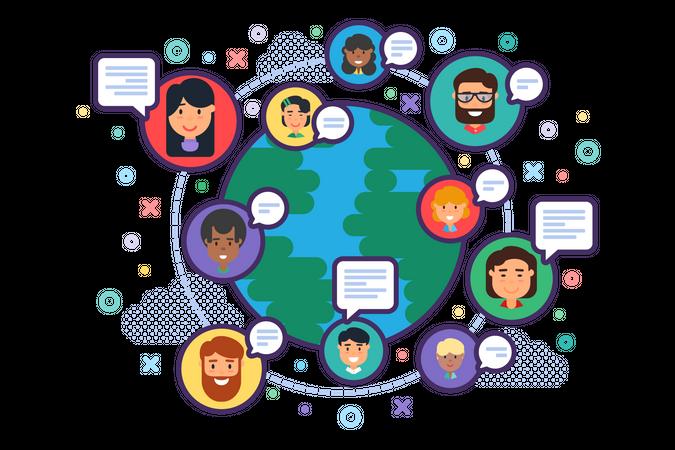 Global Social Network and Diversity Illustration
