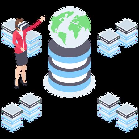 Globally Data Storage Illustration