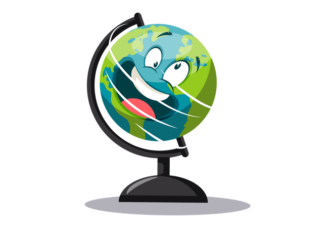 Globe is spinning in the stand Illustration