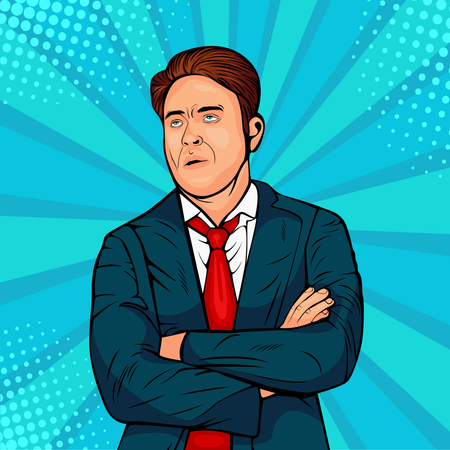 Gloomy caucasian male frowns face, looking upwards, pouting lips, being tired. Man expresses annoyance and dissatisfaction. Pop art retro comic style vector illustration. Internet meme Illustration